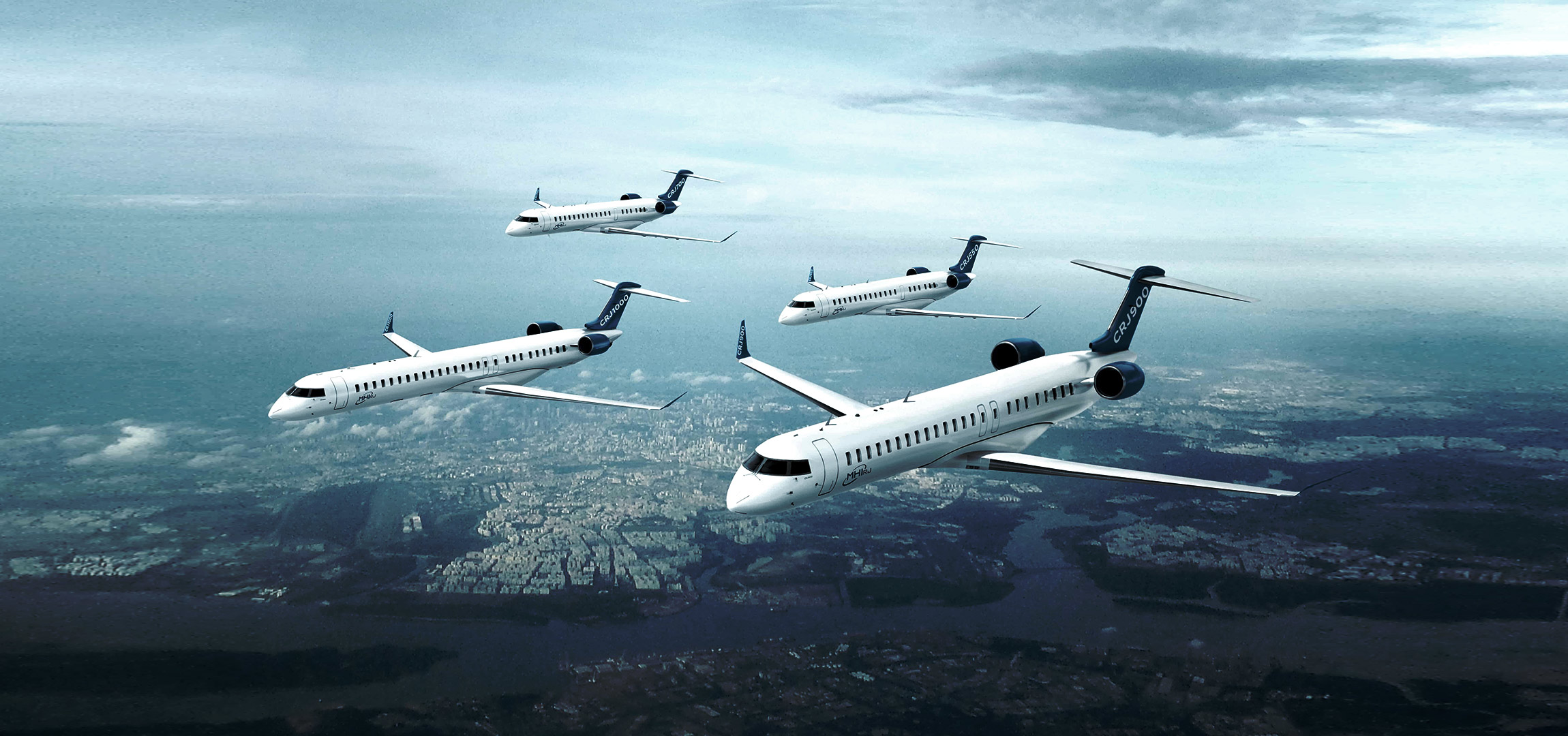 Airplane fleet flying in formation